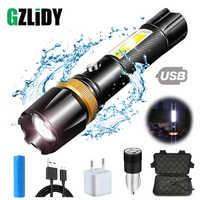Lampe de poche LED étanche Super brillante avec zoom rotatif à lumière latérale COB 3 modes d'éclairage alimentés par une batterie de 18650 pour le camping