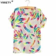 YRRETY Women Blouses Feather Sunflower Bird Chiffon Print Blouse Stripe Plaid Shirt Cross Short Sleeve Lipstick Shirts