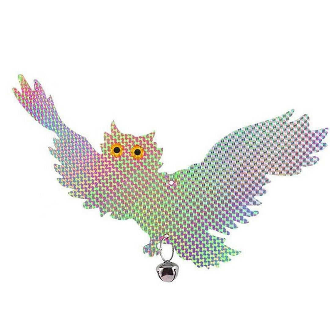 1pc Owl Reflective Deterrent Scare Bird Repellent Garden Laser Hanging Fake Owl Scarecrow Plant Protect Tool