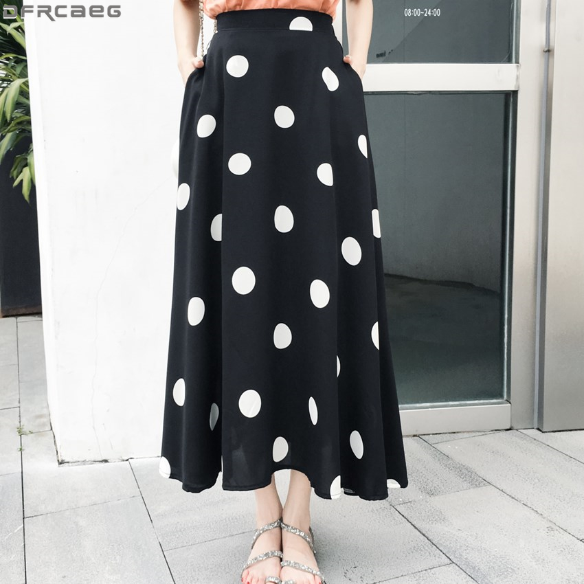 New Elegant Streetwear Polka Dot Skirt Women Loose Stretch High Waist Jupe Longue Femme A Line Chiffon Summer Autumn Maxi Skirts