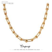 Yhpup minimalista 316l colar de corrente de aço inoxidável alta qualidade 18 k metal ouro colar de jóias presente festa