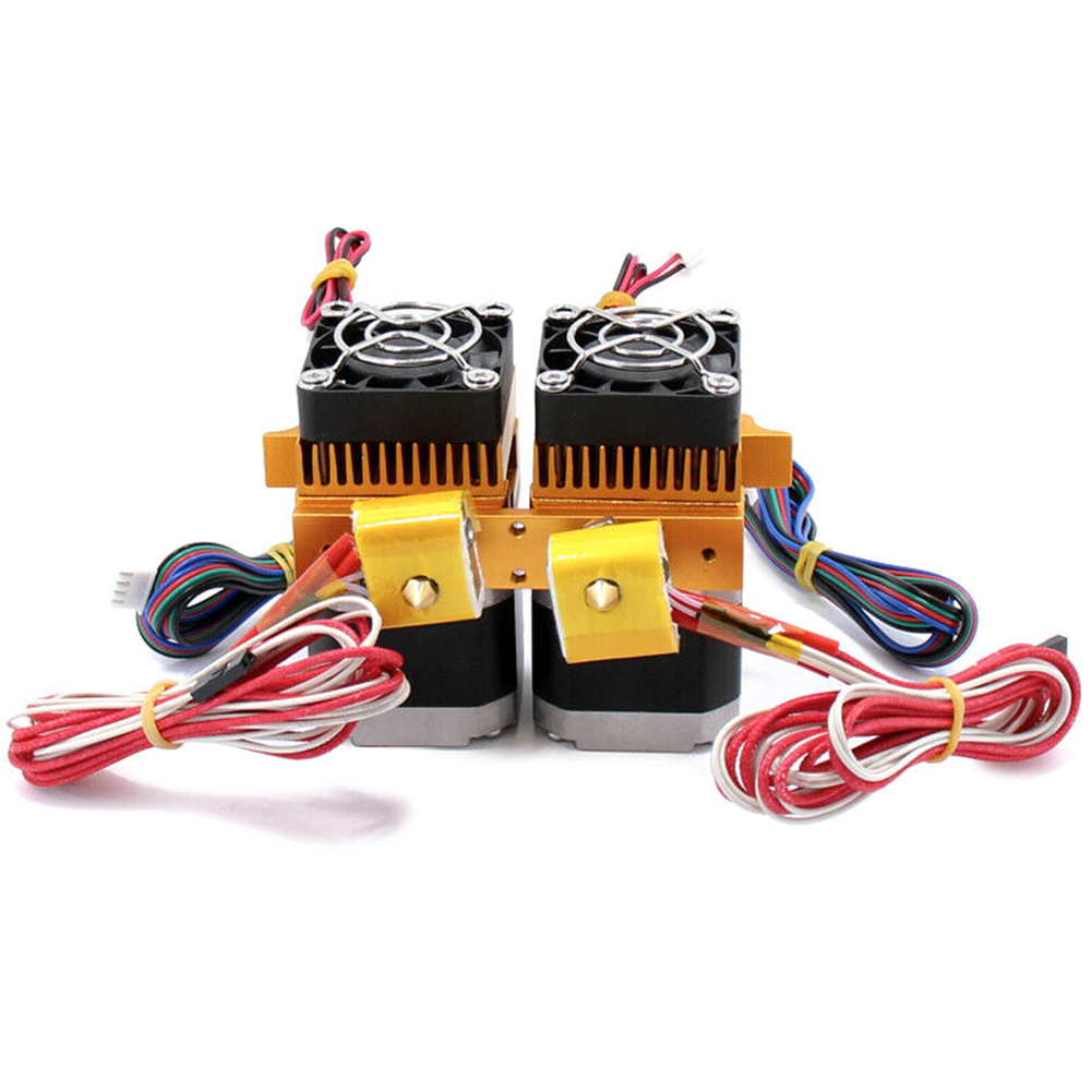 0 4mm MK8 Dual Nozzle Extruder Hot End Feeding Press Print Head Metal 12V40W Heating Rod For 1 75mm ABS PLA 3D Printer Supplies in 3D Printer Parts Accessories from Computer Office