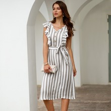 2019 Fashion Dress Womens Striped Midi Mid-calf Office Lady Summer Vestidos