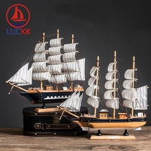 LUCKK 33CM Handmade Retro Wooden SailBoat Model Home Decor Marine Manual Wood Craft Miniature Nautical Vintage Figurine Ornament