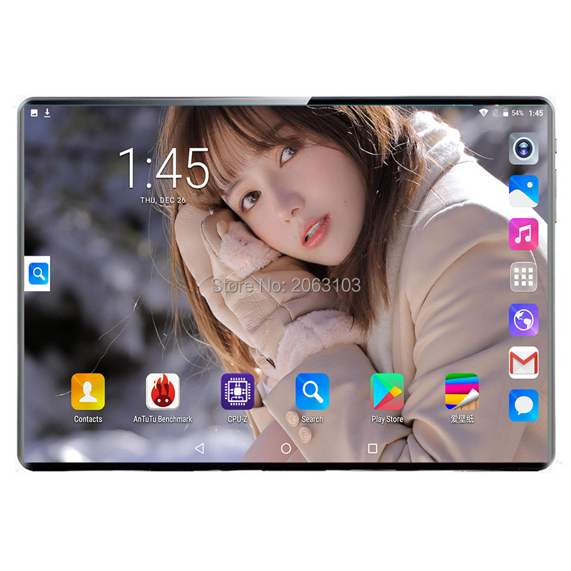 New System 10.1 Inch Android 9.0 3G 4G Phone Call 2.5D Tempered Glass Deca Core 8GB/128GB Dual SIM Wi-Fi Bluetooth Tablet PC