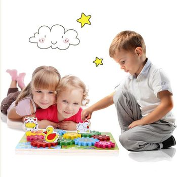 Wooden Animal Gear Game Combination Rotating Gearwheel Children Educational Toys Hand-eye Interaction Kids Fun Puzzle Toy wooden animal gear game combination rotating gearwheel children educational toys hand eye interaction kids fun puzzle toy