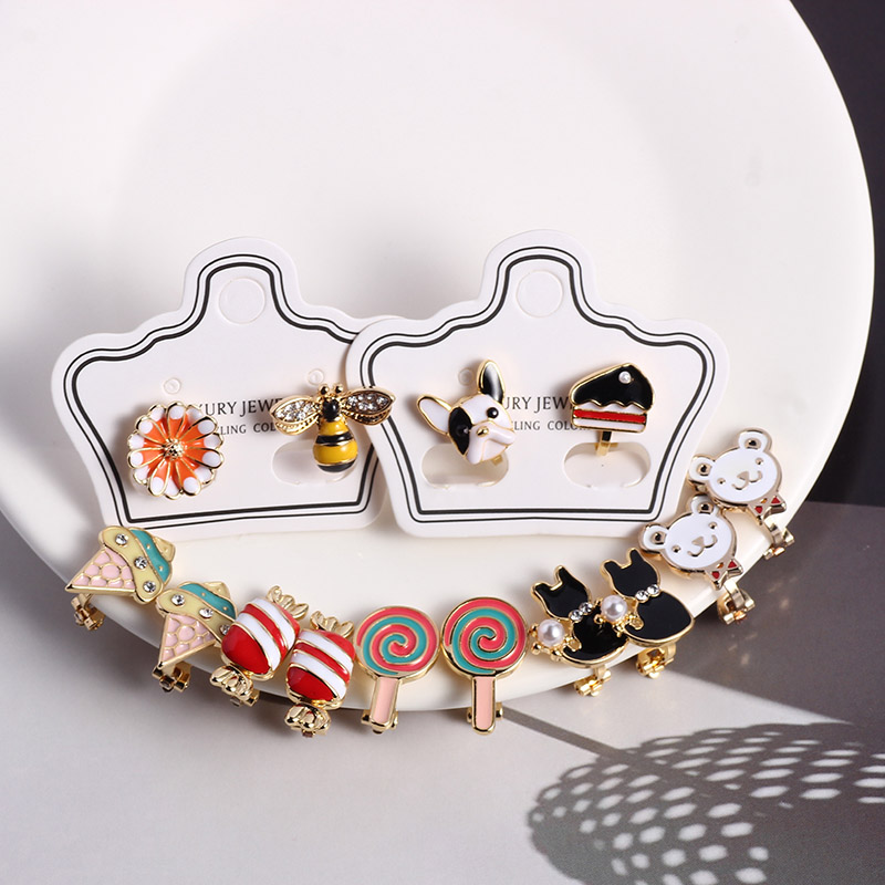 Girls Clip On Earrings Kids Cute Cartoon Enamel Ear Fake No Piercing Ear Rings With Clips Children Elegant Gift Fashion Jewelry