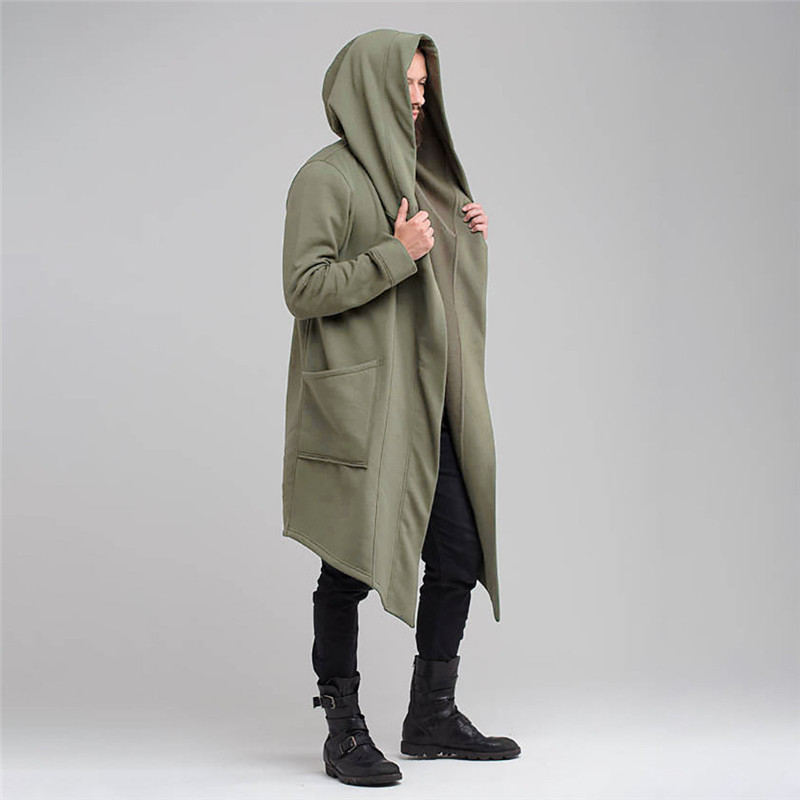 2019 Men Hooded Sweatshirts Black Hip Hop Mantle Hoodies Fashion Jacket Long Sleeves Cloak Man's Coats Outwear Hot