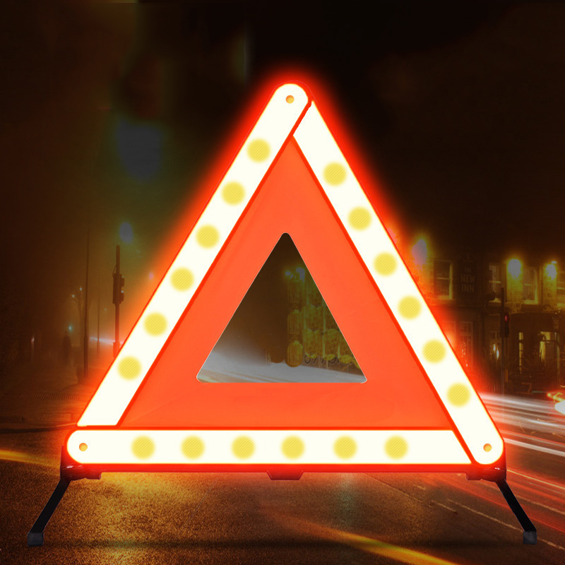 Car Triangle Reflective Strip Car Stop Sign Tripod Road Flasher Triangle Emergency Warning Sign Foldable Car Accessories