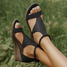 Women Summer Sandals Mid Heels Wedges Shoes Woman Vintage PU