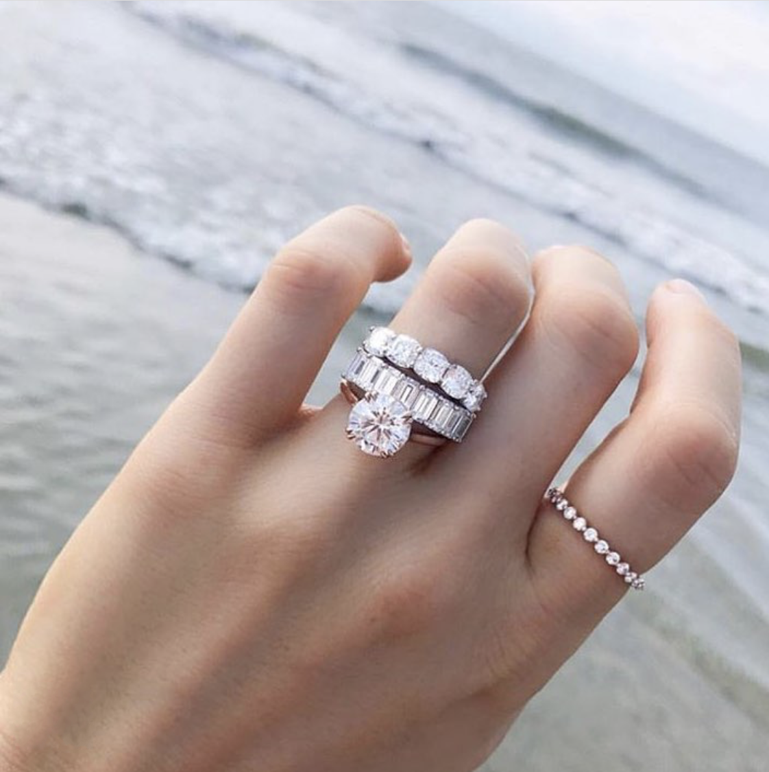 Luxury 925 Sterling Silver 4ct Created Moissanite Wedding Engagement Cocktail Women white topaz Band Rings set Fine Jewelry