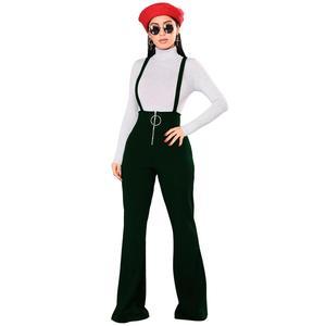 Image 4 - Echoine女性はハイウエスト大ラウンドバックルパンツジッパーフレア脚サスペンダースウェットパンツ女性のレトロなストリート女性