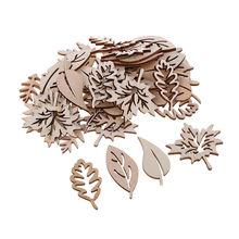 50 шт необработанные деревянные формы листьев подвесные украшения