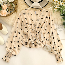 Heart Print Chiffon Blouse Shirt Women Puff Sleeve Ruffle De