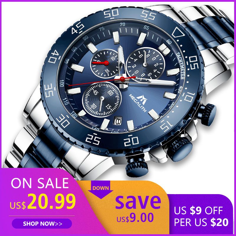 MEGALITH Watches Mens Waterproof Analogue Clock Fashion Stainless Steel Waterproof Luminous Watch Men Sports Relogio Masculino-in Quartz Watches from Watches