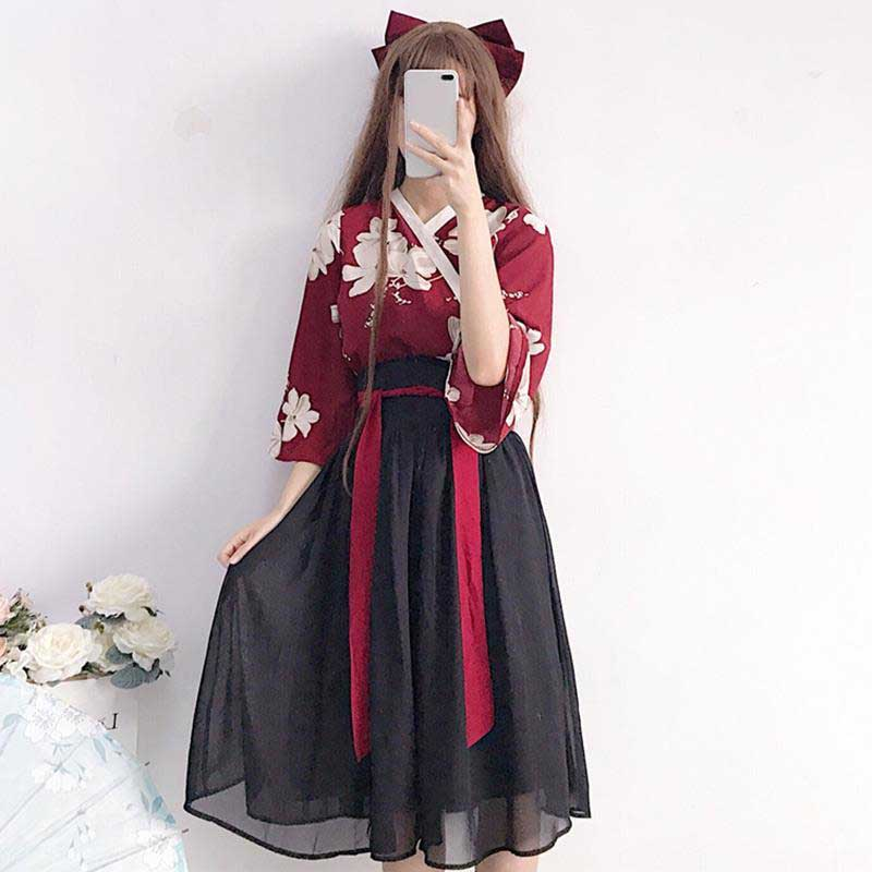 NiceMix Kimono Floral Japanese Style Kawaii Girls Yukata Summer Top Skirts Outfits Dress For Women Vintage Party Haori Asian Clo