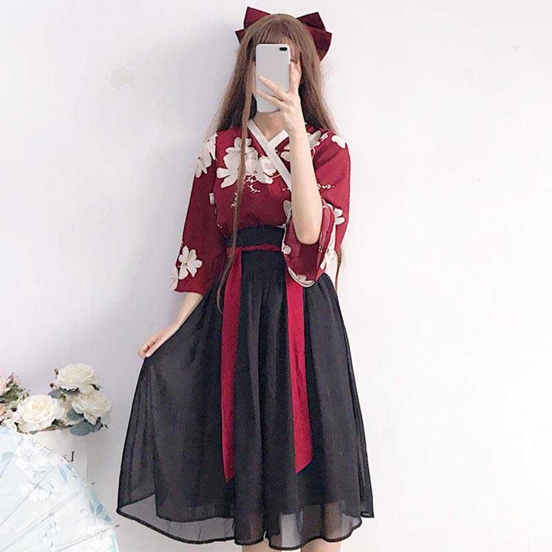NiceMix Kimono Floral Japanese Style Kawaii Girls Yukata Summer Top Skirts Outfits Dress For Women Vintage Party Haori Asian Clo