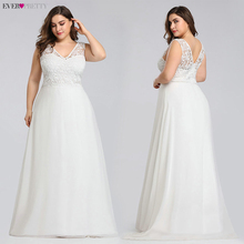 우아한 플러스 사이즈 레이스 웨딩 드레스 적 예쁜 2020 a 라인 바닥 길이 민소매 EZ07686CR 웨딩 드레스 Vestido De Noiva