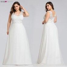 أنيقة حجم كبير فساتين الزفاف الدانتيل من أي وقت مضى جميلة 2020 ألف خط طول الأرض بلا أكمام EZ07686CR ثوب زفاف Vestido De Noiva