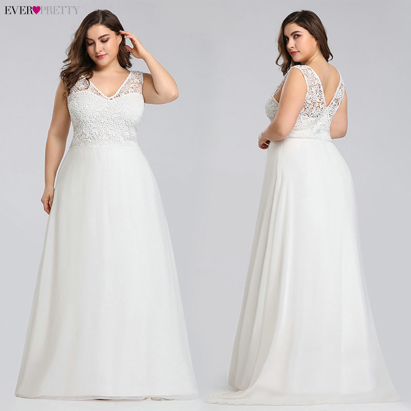 Elegant Plus Size Lace Wedding Dresses Ever Pretty 2020 A-Line Floor-Length Sleeveless EZ07686CR Wedding Gown Vestido De Noiva