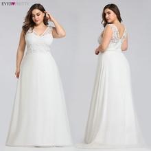 Элегантное кружевное свадебное платье размера плюс Ever pretty 2020 ТРАПЕЦИЕВИДНОЕ свадебное платье без рукавов длиной до пола EZ07686CR Vestido De Noiva