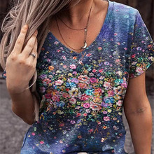 Summer Casual Tee Short Sleeve Women T-Shirts Flower Print Street Tops Female V-Neck Loose T-Shirt 5XL Plus Size Top Pullover