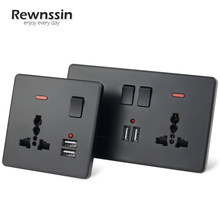 Three-Hole Multi-Function Wall Power Outlet Socket 2.1A 5V Dual USB Charger Ports LED Indicator Double Black Plastic Panel