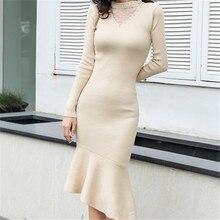 Korean Fashion Sweater Dress Women Knitted Dresses Elegant Woman Mermaid Sweaters High Waist V Neck