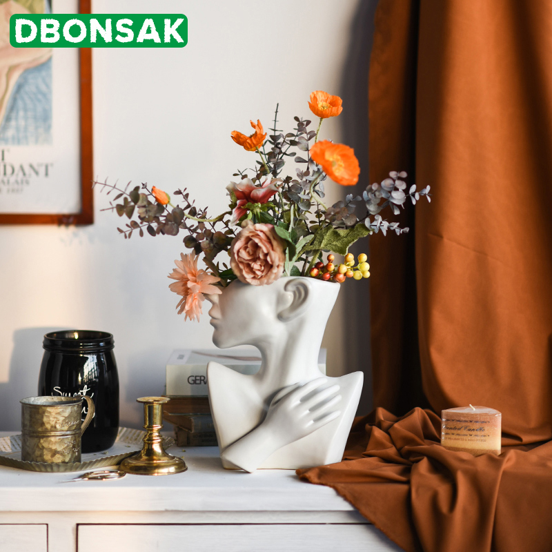 Demi-corps visage humain en céramique Pot de fleur Portrait Sculpture ornement Succulent caractère Vase fleur Arrangement conteneur décor