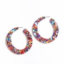 Acrylic Colourful Earrings For Women Red pattern Geometric Big Tropical Boho Vintage Statement Dangle Earring Oorbellen