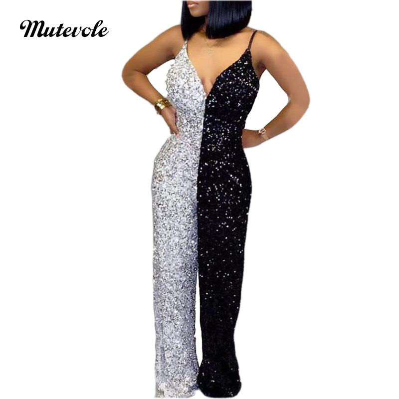 Mutevole Black And White Sleeveless Sequin Jumpsuit Women Sexy V Neck Wide Leg Glitter Jumpsuit Spaghetti Strap Party Jumpsuit