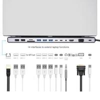 Type C HUB to 3.0 USB SD/TF Card Reader Dual HDMI 4K RJ45 VGA USB HUB For MacBook Accessories USB Splitter Multi HUB USB-C HUB