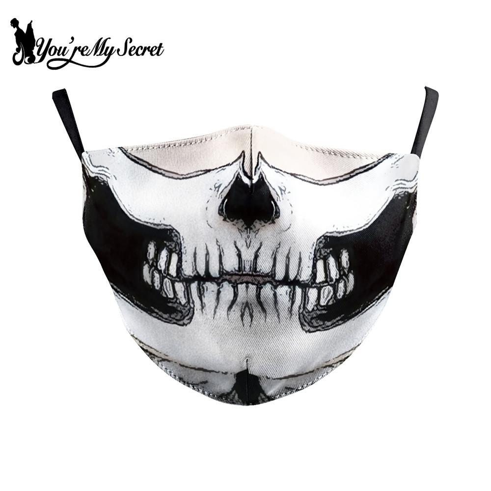 [You're My Secret] Jack Skellington Print Face Mask Gothic Skull Mouth Cover Fabric Masks Protective PM 2.5 Dust Masks Reusable 1