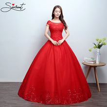 SERMENT Simple Short Red Lace Wedding Dress Boat Neck Floor-length Off The Shoulder Crystal Beading Bride Pregnant Women Size
