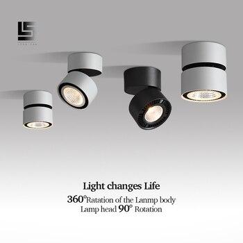 Led Downlight 360 derece dönebilen yüzeye monte Downlight 15W LED tavan Spot ışık kapalı oturma odası fuaye Spot lamba