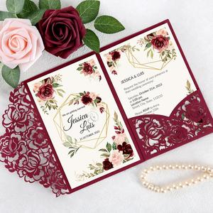 Image 3 - 100pcs Burgundy Laser Cut Floral Invitation Cards for Wedding / Party / Quinceanera / Anniversary /  Birthday, CW0008
