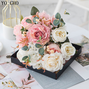 Image 5 - Yo Cho 6 Heads/Boeket Pioenen Kunstbloemen Zijde Pioenen Boeket Wit Roze Bruiloft Woondecoratie Nep Pioen Roos bloem