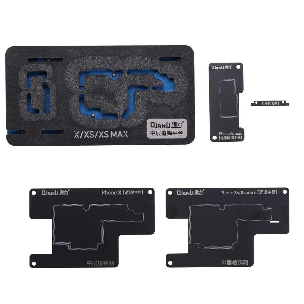 Ferramenta estêncil para reballing BGA Qianli, plataforma de estanho para trabalho em placa lógica intermediária mainboard de iPhone X XS MAX 11Pro
