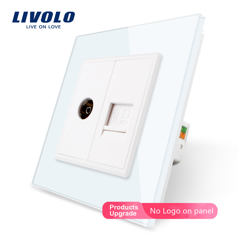 Livolo, 7colors Crystal Glass Panel, 2 Gangs Wall Computer And TV Socket,C791VC-11/12/13/15, Without Plug Adapter,no Logo