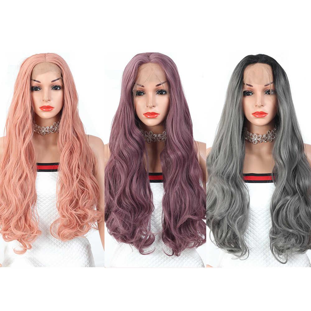 Perruque Lace Front Wig 13X3 synthétique 28 pouces-ZYR | Perruques Body Wave en Fiber haute température pour femmes, perruques avec raie centrale et mélange de couleurs