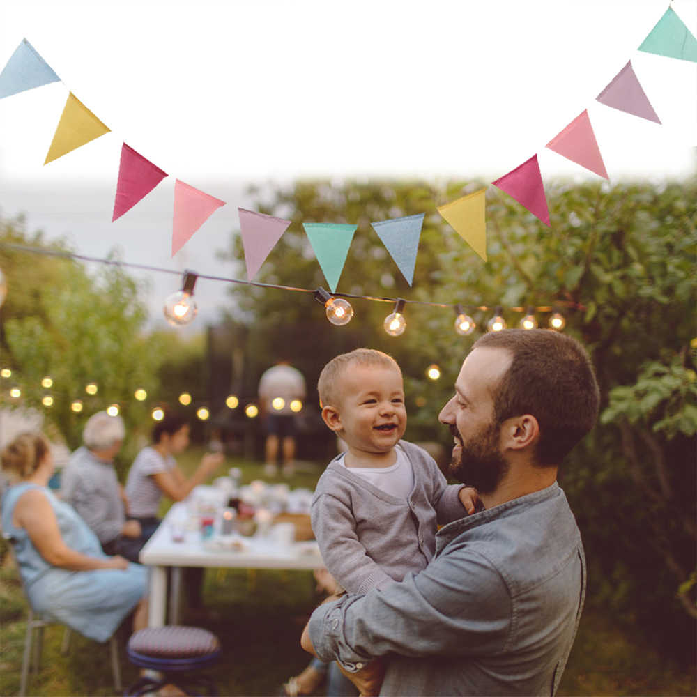 4m צבעוני בד בד משולש דגל באנר זר תינוק מקלחת ילד יום הולדת DIY גבתון חתונה אירוע מסיבת עיצוב הבית