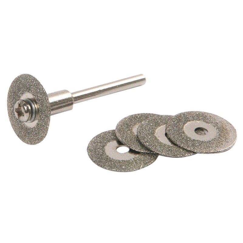 5PCS 22mm Emery Diamond Cutting Blades Drill Bit+1 Mandrel For Dremel Set