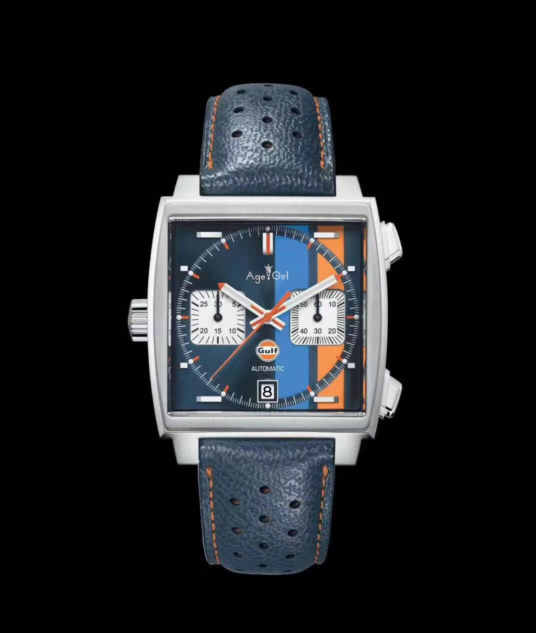 2019 Luxury Brand New Men Silver Red Black Leather Stainless Steel Chronograph Blue Gulf Racing Sapphire Special Edition Watch