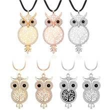 RE Women Tree of Life Necklaces Crystal Long Sweater Chain Necklace Cute Hollow Owl Pendant Necklace Female Jewelry Bijoux цена 2017