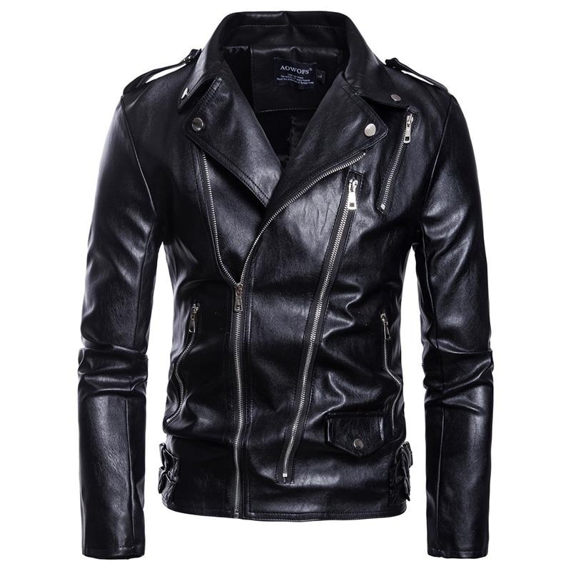 Men's Locomotive Leather Jackets New Fashion Multi-Zipper Motorcycle Leather Jacket Male High-end PU Coat Casaco Masculino