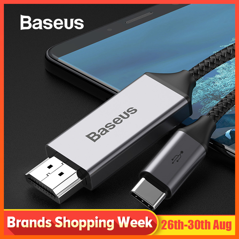 Baseus USB Type c HDMI Cable Type-c to HDMI Cable for Huawei Xiaomi Samsung OnePlus USB C Mobile Phone 4K 60Hz HDMI Video Cable storage cable