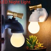 цена на LED Night Light Voice Control Faucet Shape Lamp 3 Mode Mini USB Rechargeable Tap Wall Night Light for Kid Bedroom Toilet