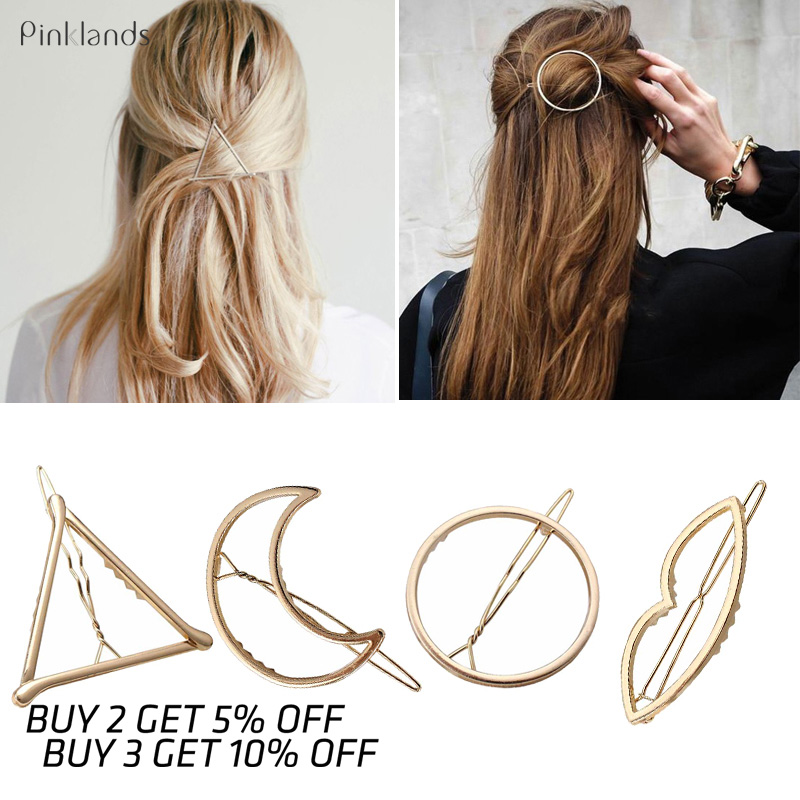 Metal Hair Clips Barrettes Cheveux Hairpins Holder Moon Triangle Circle Hair Pins For Girls Women Hair Styling Hairpin Stick