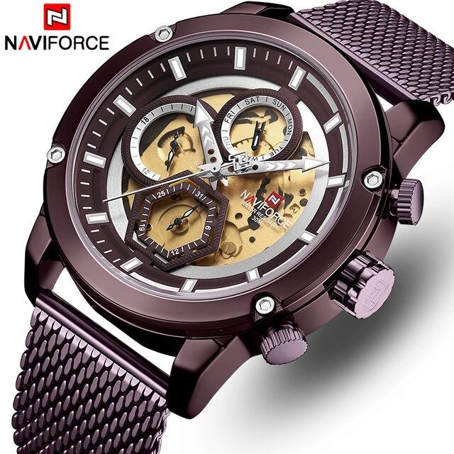 NAVIFORCE Horloge Mannen Top Luxe Merk Mode Quartz mannen Horloges Volledige Staal Waterdicht Heren Horloges Relogio Masculino