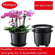 Meshpot 8 Inches Plastic Orchid Pot Flower Pot Garden Pot Planter Holder Home Decor,Enhance Root Quantity and Activity Good air